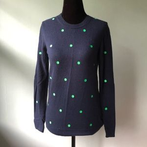 J. Crew Navy Sweater with Green Polka Dots